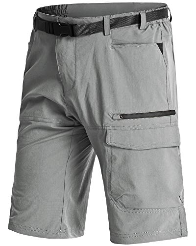 LASIUMIAT Mens Hiking Shorts Quick Dry with Pockets Cargo Shorts for Men Big Tall Shorts for Men Work Shorts Elastic Waist Shorts for Men Light Grey