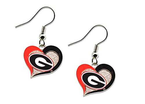NCAA Georgia Bulldogs Swirl Heart Earrings