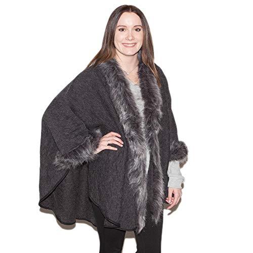 Treska Women's Faux Fur Trim Ruana Grey