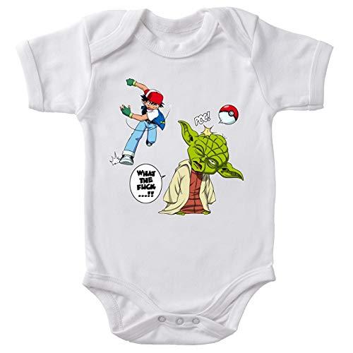 Body bébé Blanc Star Wars - Pokémon parodique Yoda et Sacha Ketchum : What The.!? (Parodie Star Wars - Pokémon)