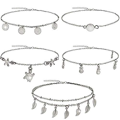 CHEMOXING 5Pcs Chain Ankle Bracelets Adjustable Beach Anklets Foot Jewelry Set for Women-2