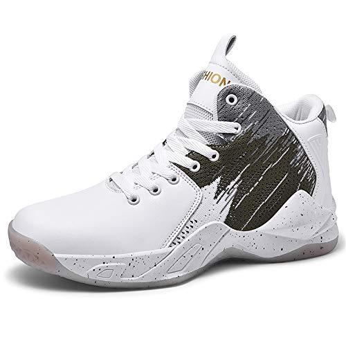 CXQWAN Les Formateurs Non-Slip Homme, Chaussures de Basket-Ball Haute Performance Choc Chaussures de Course pour intérieur et extérieur en Plastique Cour Venues ou marchepieds,Gris,43