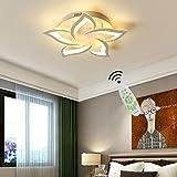 LED Deckenleuchte Wohnzimmerlampe Dimmbar Deckenlampe Kreative Chic mit Fernbedienung Designer Lampe Modern Stil Decken Leuchte Eisen Acryl Schirm Hängeleuchte Esszimmer Küche Deko Licht 5-flammig