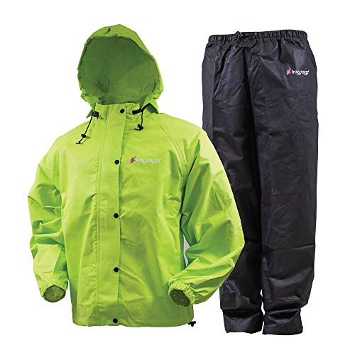FROGG TOGGS Women's Classic All Purpose Rain Suit, Safety Green/Black, X-Large, Short