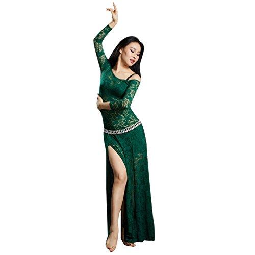 YuanDian Mujer Encaje Vestidos De Danza del Vientre División Alta Mangas Largas Perspectiva Elegante Tribal Oriental Arabian Dance Vestido Ropa Trajes (Sin Cadena De Cintura)