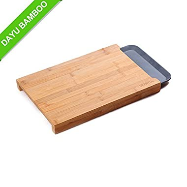 Premium Bamboo Wood Cutting Board with Melamine Tray,Organic Eco Friendly Tray for Kitchen Easy Waste Removal & Faster Food Prep Time -Best Anti-microbial Chopping Board, FDA Approved-15X10 inch