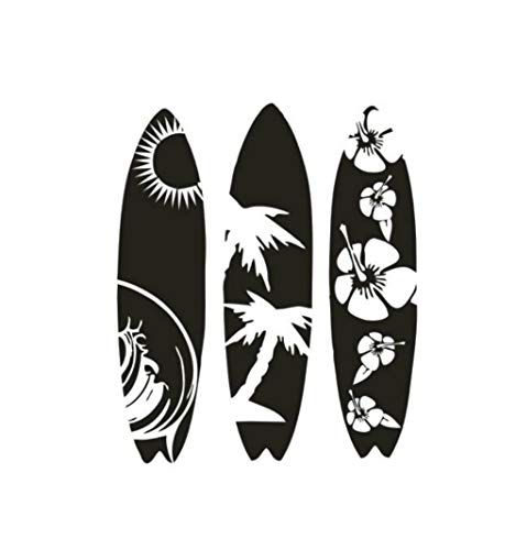XCSJX Creativa Tabla de Surf de Vinilo Etiqueta de La Pared Estilo de Surf de Mar Calcomanías de Vinilo Removible Ventana Del Coche Tablas de Surf Pegatinas Decoración para el hogar 57x69 CM