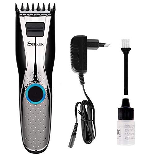 Surker HC-650 Cortapelos para hombres,Recortadora de pelo con hoja de cerámica de acero inoxidable, Máquina de corte de pelo, Batería recargable,Inalámbrico, Regalos de cumpleaños para hombres