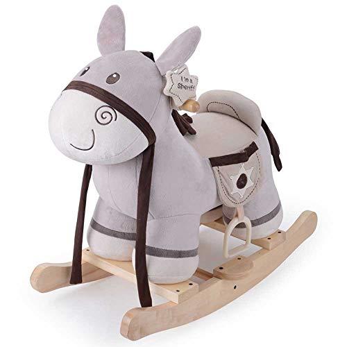ZXvbyuff Juguete del bebé del caballo mecedora de madera, sillón de felpa mecedora caballo de juguete Burro gris del caballo de oscilación pequeños mecedora mecedora infantil Animal for el bebé 1-3 añ
