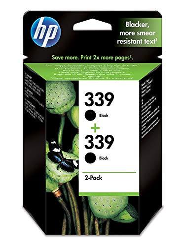 HP 339 Multipack Original Druckerpatrone (2x Schwarz) für HP Deskjet, HP Officejet, HP Photosmart