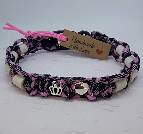 EM-Keramik-Halsband für Hunde/EM - Hundehalsband/EM Band - Betty/schwarz-rosa