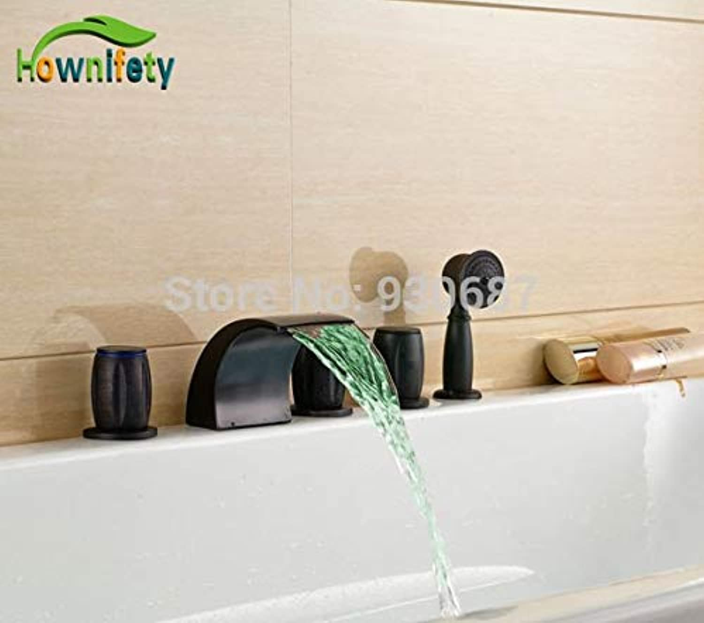 U-Enjoy Chandelier Style Led Retro Oil Bronze Top Quality Bathroom Rubbed Tub Faucet Three Mixer Tap Blackhandle Free Shipping