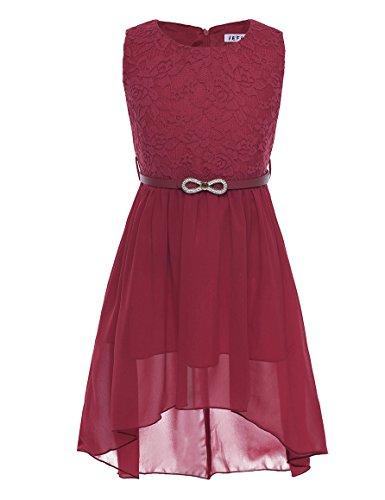 iEFiEL Mädchen Kleid Festlich Tüll Sommer Kleid Blumenmädchen Hochzeit Festzug Bekleidung mit Schleife 116-164 (164, Weinrot)