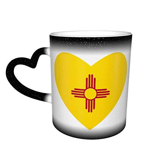 Hdadwy Bandera de Nuevo México Taza de cielo estrellado que cambia de color del corazón Taza mágica de café en forma de corazón