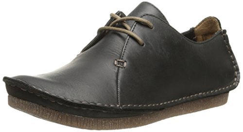 Clarks womens Janey Mae oxfords shoes, Black Leather, 6.5 US