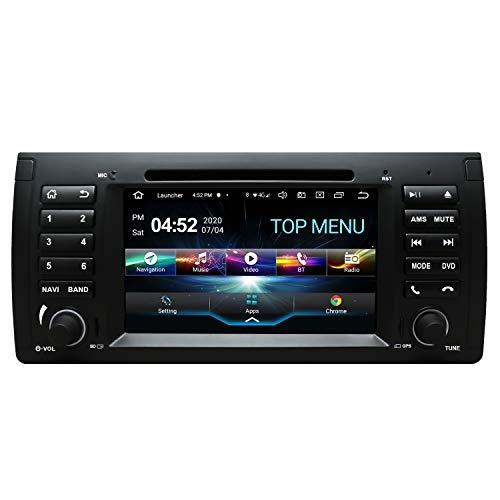 SWTNVIN Android 10.0 Autoradio-Headunit passend für BMW E39 5Serias E53 X5 7Serias M5 DVD-Player Radio 7 Zoll HD Touchscreen GPS Navigation mit Bluetooth WiFi SWC 3G DSP 2 GB + 32 GB