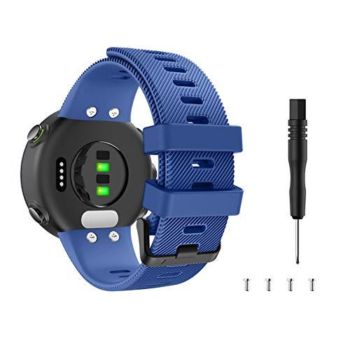MoKo Cinturino di Ricambio Morbido Compatibile con Garmin Forerunner 45/Forerunner 45S/Swim 2, Braccialetti di Ricambio per Orologio in Silicone, Blu Notte
