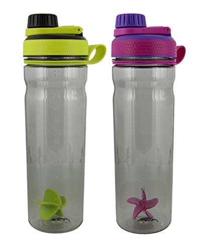Rubbermaid Shaker Cup for Protein Shakes - 28-Ounce Protein Shaker Bottle for Mixing Whey Protein Powder, Juice, and Smoothies - BPA-Free, Comes with Paddle Ball - Green/Black, Purple 2-Pack