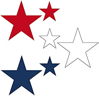 Set of 45 Stars Vinyl Wall Stickers Decals - 2 & 4 inch (Red/White/Navy Blue)