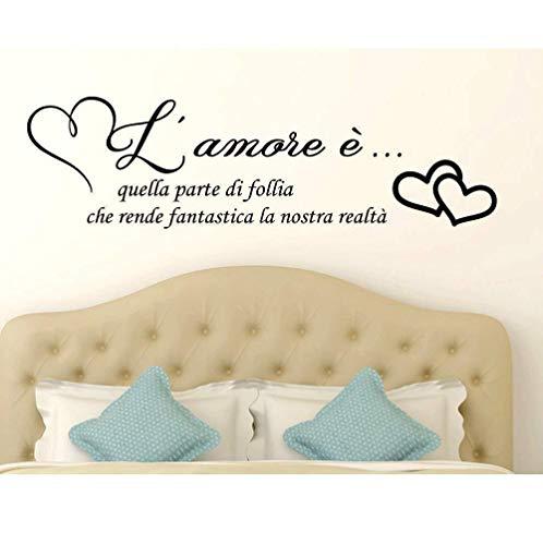 Adesivo murale italiano adesivo da parete frase citazione adesivo da parete decorazione d'interni'l'amore è quella parte della follia Misura' 120 x 34 CM