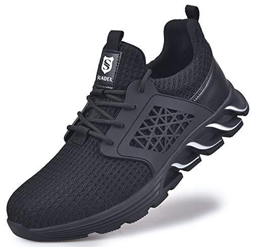[SUADEX] セーフティーブーツ 安全靴 作業 スニ一カ一 あんぜん靴 おしゃれ 黒 工事現場 靴 鋼先芯 耐摩耗 防刺 耐滑ソール アウトドア スニーカー ワーク シューズ セーフティーシューズ