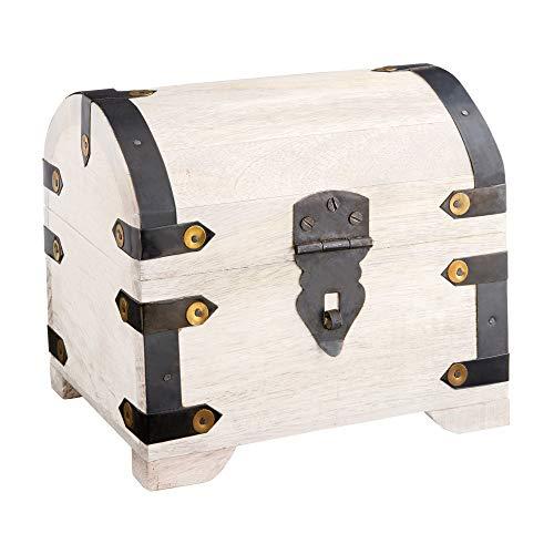 Casa Vivente Große Schatzkiste aus weißem Holz, Schmuckkästchen und Aufbewahrungsbox, Verpackung für Geldgeschenke