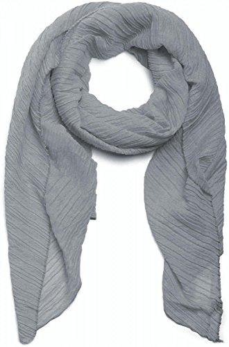 styleBREAKER gekreppter unifarbener Schal, Crash and Crinkle, Tuch, Plissee, Damen 01016107, Farbe:Grau