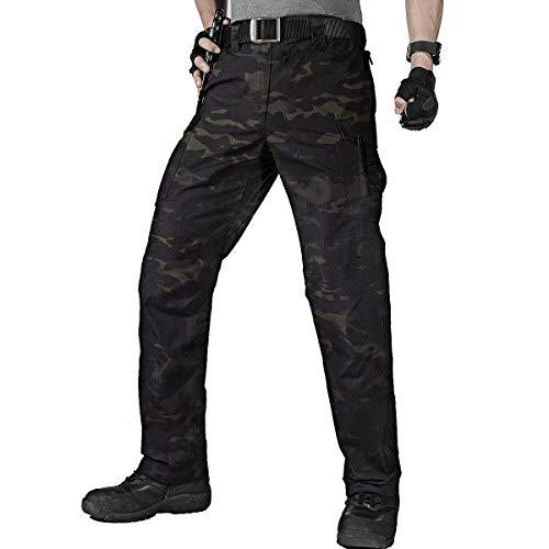 FREE SOLDIER Herren Cargo Arbeitshosen Wasserabweisende Taktische Hose mit Mehreren Taschen Schnelltrocknende Kampfhose Lässige, leichte Hose für Wandern(Camouflage,34W/30L)