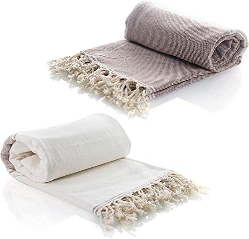Jimjis 2 piezas de toalla turca 100% algodón puro de secado rápido y fuerte absorción utilizada en el baño, gimnasio, playa, utilizada para viajes, spa, picnic, manta de mesa, 100 cm x 180 cm