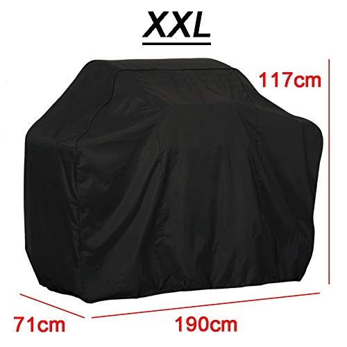 OC TRADE Outdoor Black Waterproof BBQ Cover Heavy Duty Grill Cover Protective Round Rectangle Barbecue Barbeque Grill BBQ Accessory- Barbeque Tools and Accessories- BBQ set-XXL-190x117x71CM