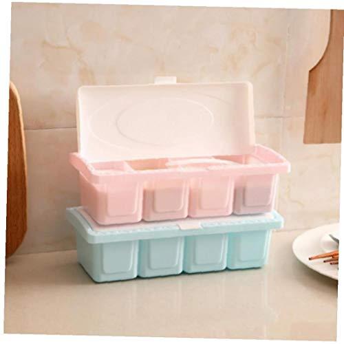 1pc Spice Jar Plastica Condimento Box Condimento Cremagliera di Immagazzinaggio del Contenitore con Il Cucchiaio Colore Casuale