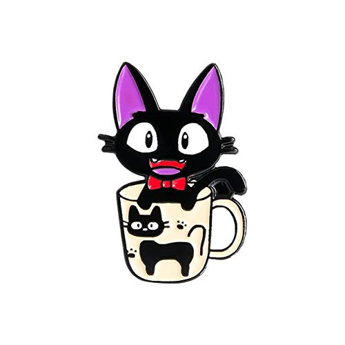 Alfileres de esmalte de gato negro, broches de película de dibujos animados, insignia de animal para bolso, sombrero, ropa, alfiler de solapa, Collar-Style3