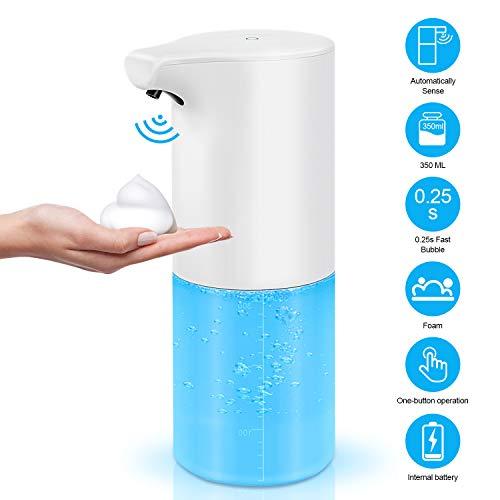 Redmoo Dispensador automático de jabón, Dispensador automático de jabón con Sensor Dispensador de jabón en Espuma con Sensor de Infrarrojos 350ml Dispensador de para cocinas, baños, aseos