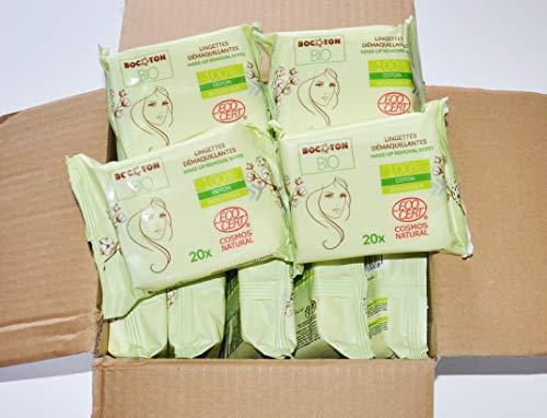 Lote de 240 toallitas desmaquillantes húmedas con extracto de aloe vera, 100% algodón orgánico suaves e hipoalergénicas