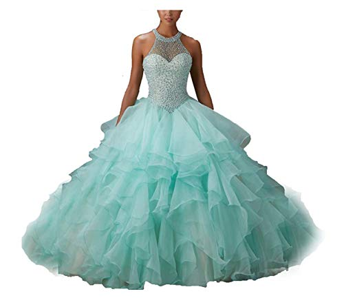 Elliebridal Beaded Quinceanera Dresses Sweet 15 16 Ball Gowns Formal Party Evening Prom Dress for Women Girls Mint Green