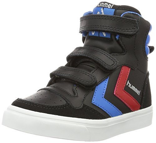 Hummel Unisex-Kinder HUMMEL STADIL JR LEATHER HIGH, Black Brilliant Blue, 30 EU