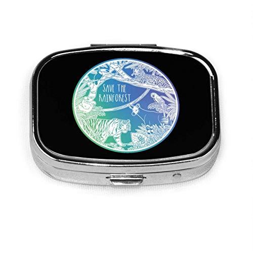Save Rain Forest - Pastillero personalizado/Pastillero/Pastillero cuadrado