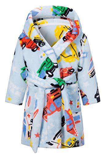 CADong Bademantel für Jungen und Mädchen, aus Fleece, Nachtwäsche für Kleinkinder, Jungen und Mädchen Gr. 3-4 Jahre, Cartoon-Auto