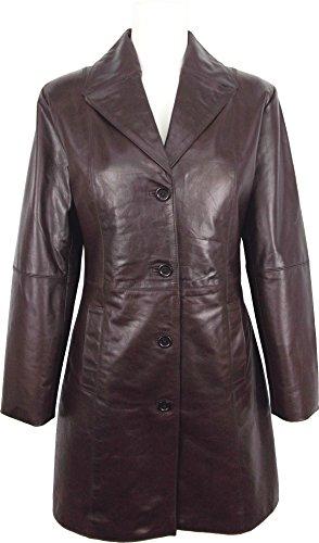 UNICORN Mujeres Encuadre de tres cuartos Real cuero chaqueta - Glaseado Marrón #GO