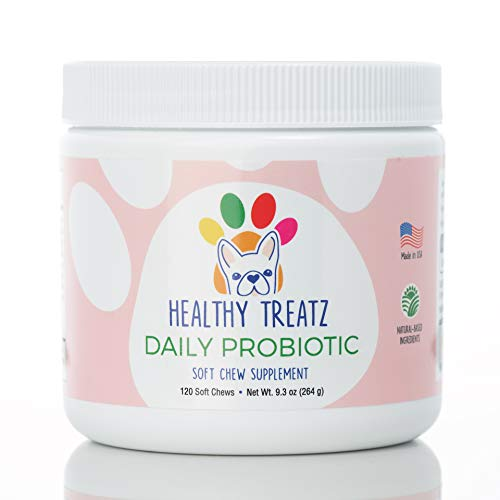 Healthy Treatz Probiotic Chews for Dogs - with Natural Digestive Supporting Enzymes for Relief of Diarrhea & Upset Stomach + Gas & Constipation - Allergy & Immune System Support