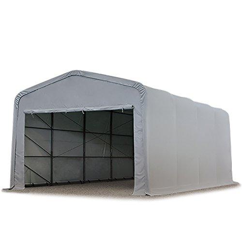 Wikinger Zeltgarage 5x8 m Lagerzelt Carport Torgröße 4,1x2,5 m für Boote, Wohnmobile, Traktoren - grau