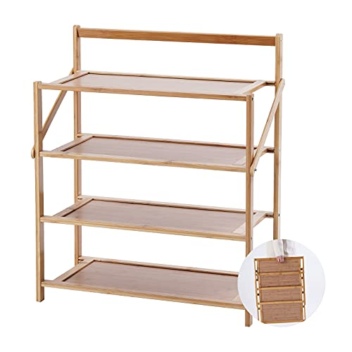 Small Shoe Rack 4 Tirer, Wooden Shoe Rack made of Natural Bamboo, Slim and Narrow Shoes Stand Shelf, Portable and Foldable for Entryway and Porch, Natural
