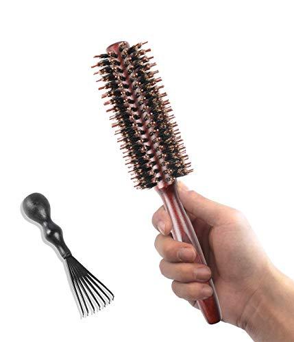 Rundbürsten Haarbürste Wildschweinborsten mit Nylonstiften Bartbürste Fönbürste Naturhaarbürste für Frauen und Männer, Glätten, Locken, Nasses Trockenes Haar (gerade Zähne)