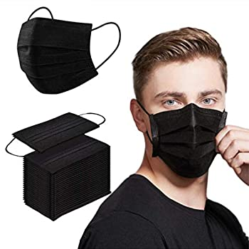 Black Face Mask Disposable Masks for Adult Men Women Safety Dust Mouth Cover Breathable Protection Face Masks 50PCS
