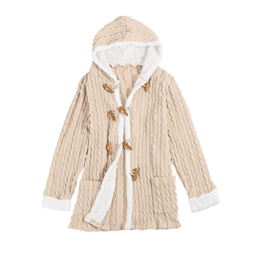 Yue668 Chaqueta de mujer Mi-Long de malla con capucha y botón de corcho, tejido de cachemira con forro de pantorrilla, abrigo con capucha de manga larga, manga larga de punto de invierno