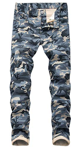 QZH.DUAO Jeans de mezclilla de camuflaje para hombre, azul, 30