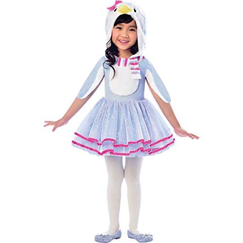 amscan-Blue Dress with Penguin Head Hoodie and Wing Sleeves-Age 3-4 Years-1 PC Vestido Azul con Cabeza de pingino y Mangas de ala  Edad 3  4 aos  1 Pieza, Color, Blanco, Rosa, (9903368)