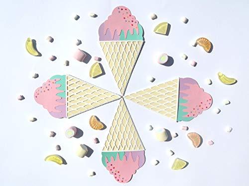 Eis Einladungskarten Kindergeburtstag - Eis Party - Eiscreme Party - 4 handmade Einladungskarten