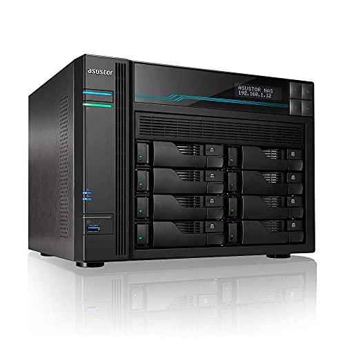 Asustor Lockerstor 8 AS6508T 8 Bay NAS - Netzwerkspeicher Gehäuse, Quad Core 2.1GHz CPU, 8GB RAM DDR4, M.2 NVMe SSD Caching