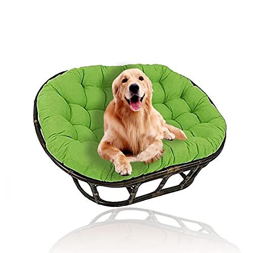 YHWL Cojines dobles de Papasan, cojín para silla de huevo, cojines colgantes para silla con lazos, cojines para silla de columpio, solo para patio al aire libre, jardín (sin silla), verde, 90 x 130 cm
